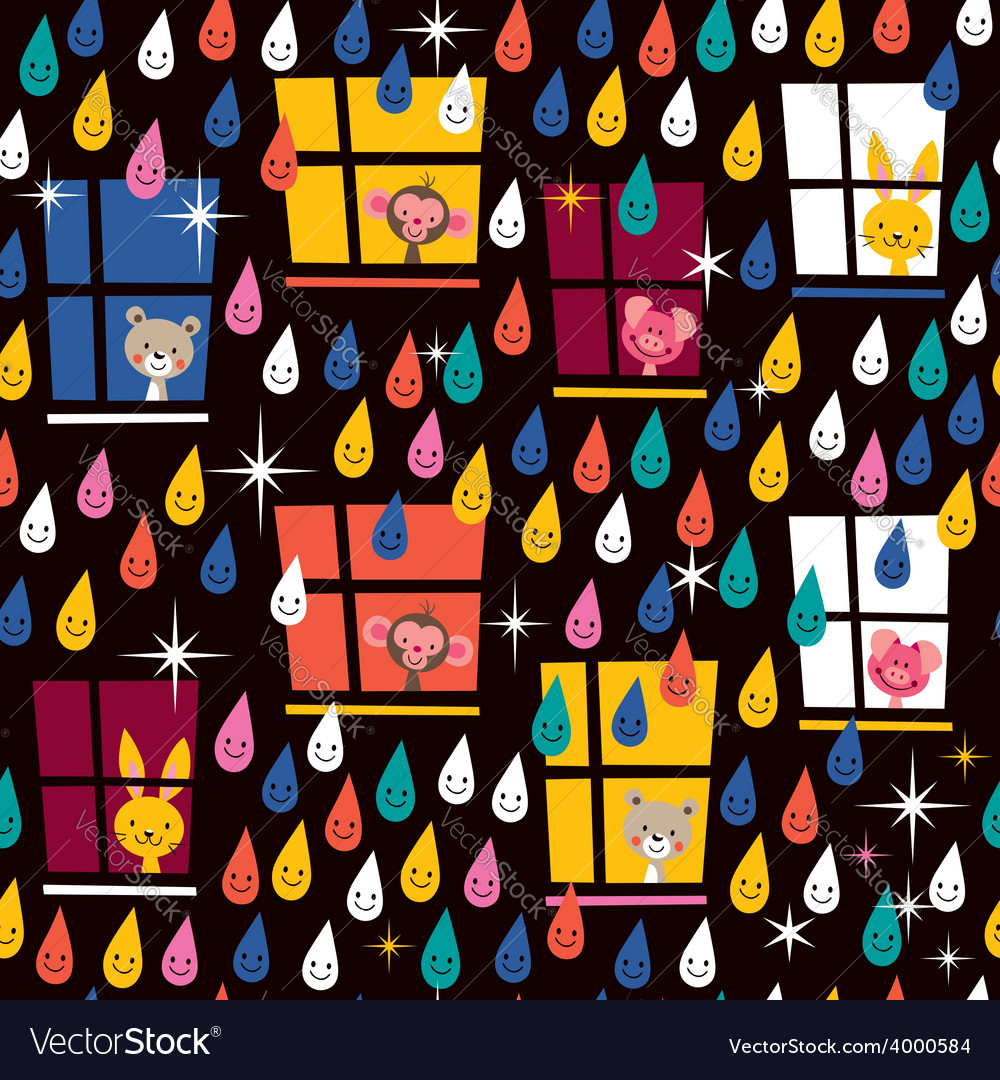 Cute animals watching rain pattern 2 vector | Price: 1 Credit (USD $1)