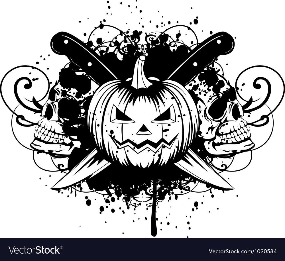 Halloween pumpkin with skulls vector | Price: 1 Credit (USD $1)