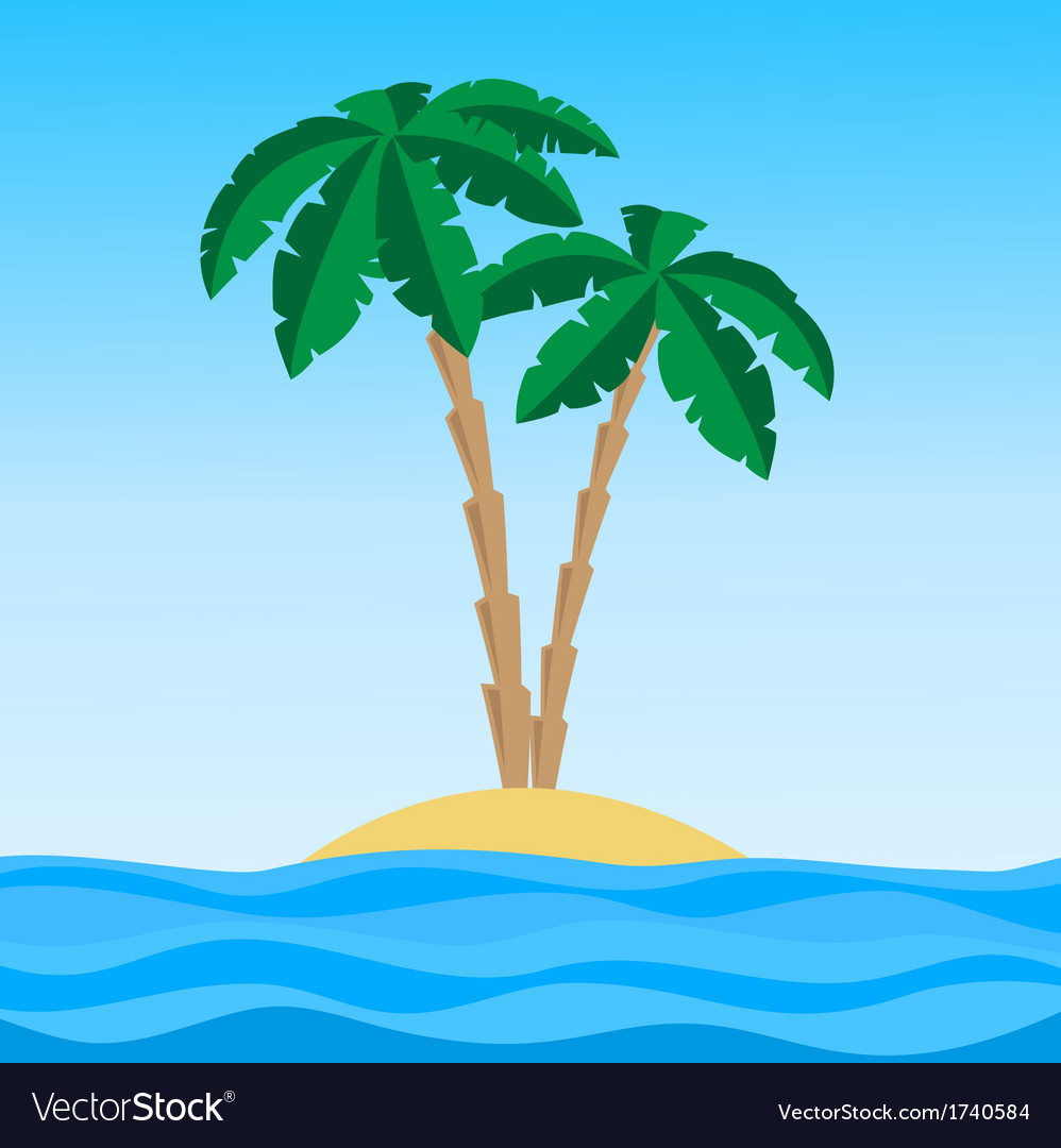 Island palm1 vector | Price: 1 Credit (USD $1)