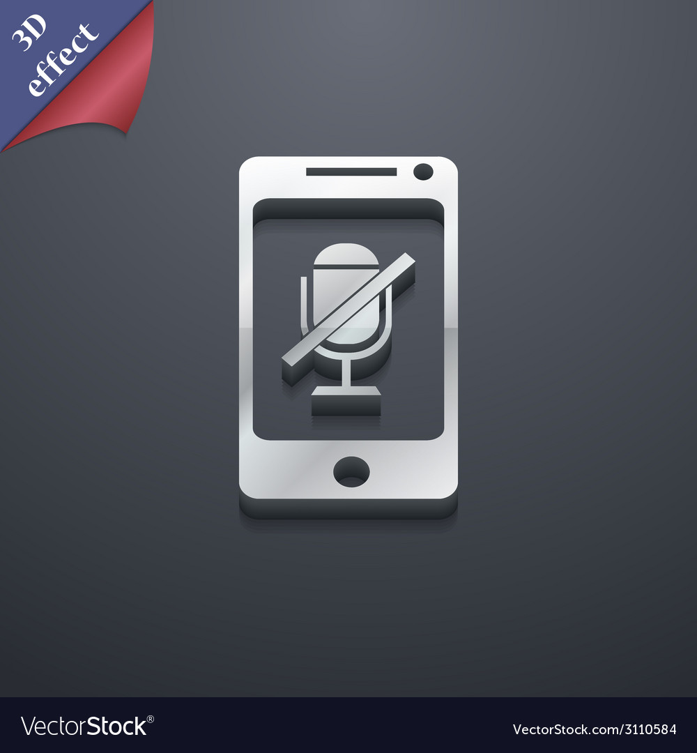No microphone icon symbol 3d style trendy modern vector | Price: 1 Credit (USD $1)