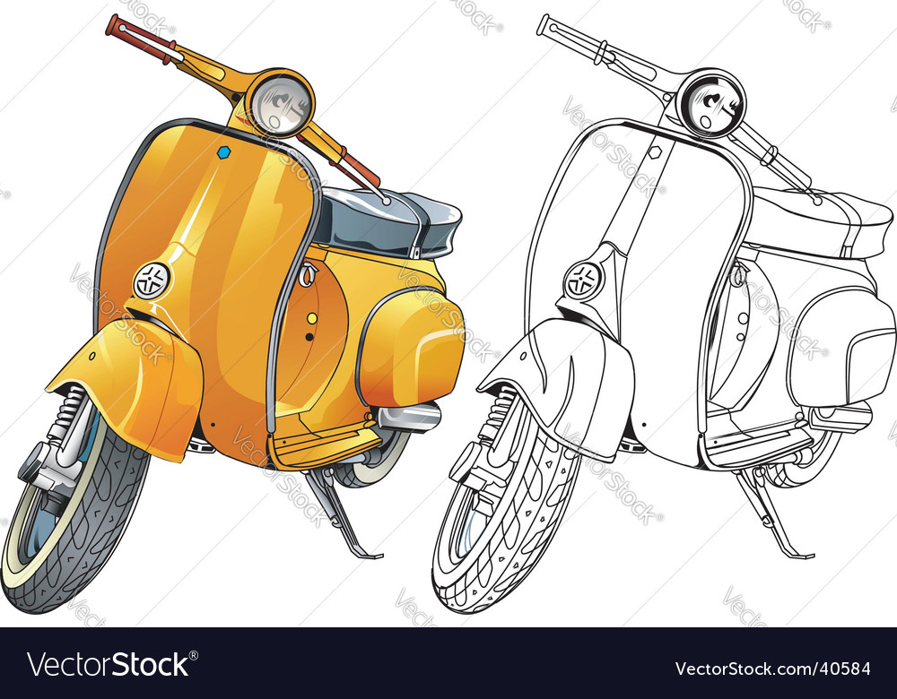 Old vespa vector | Price: 1 Credit (USD $1)