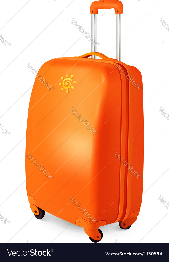 Orange travelling baggage suitcase vector | Price: 1 Credit (USD $1)