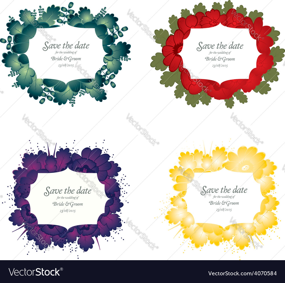 Set of flower wedding card vector | Price: 1 Credit (USD $1)
