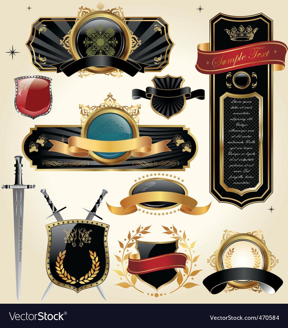 Set of golden luxury frames vector | Price: 3 Credit (USD $3)