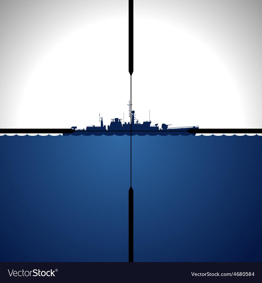 Ship in sight periscope vector | Price: 1 Credit (USD $1)
