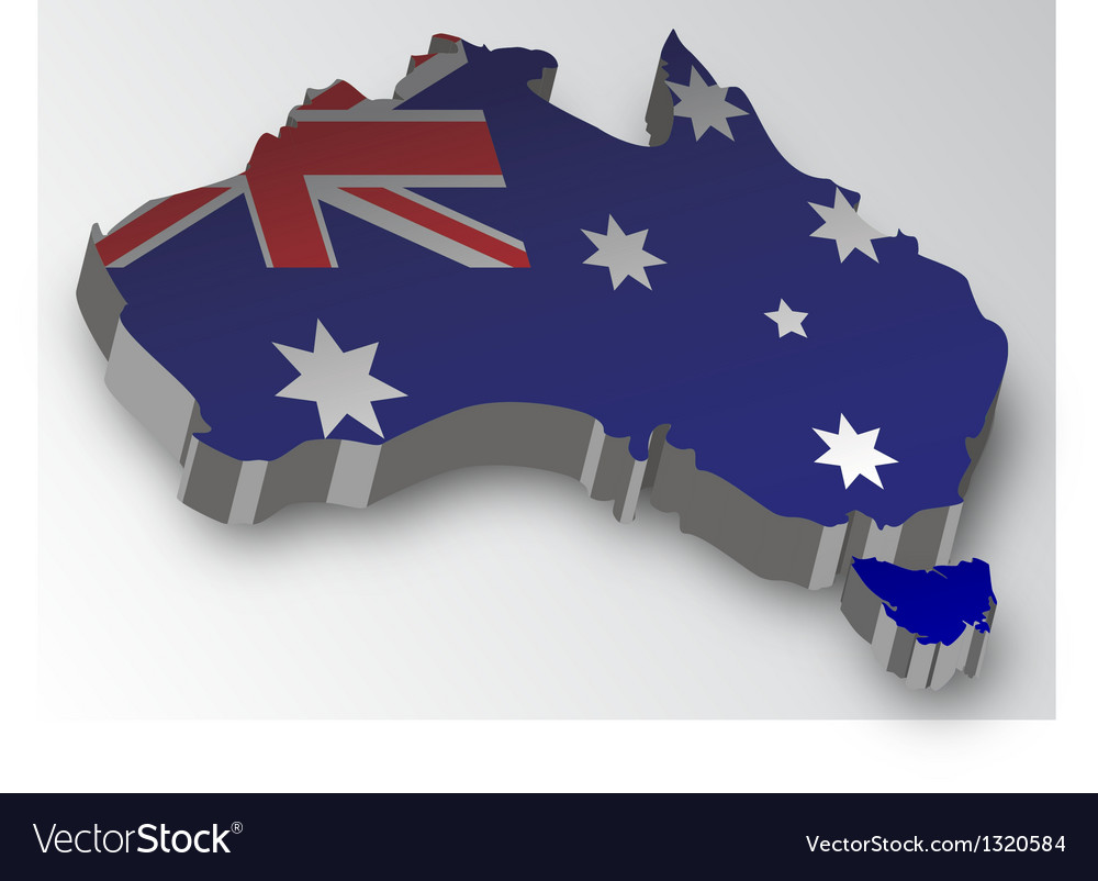 Three dimensional map of australia in flag colors vector | Price: 1 Credit (USD $1)