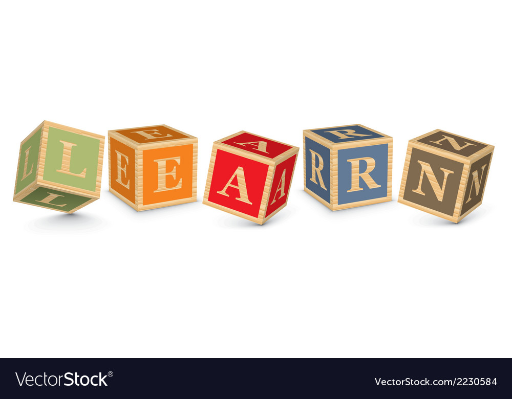 Word learn written with alphabet blocks vector | Price: 1 Credit (USD $1)