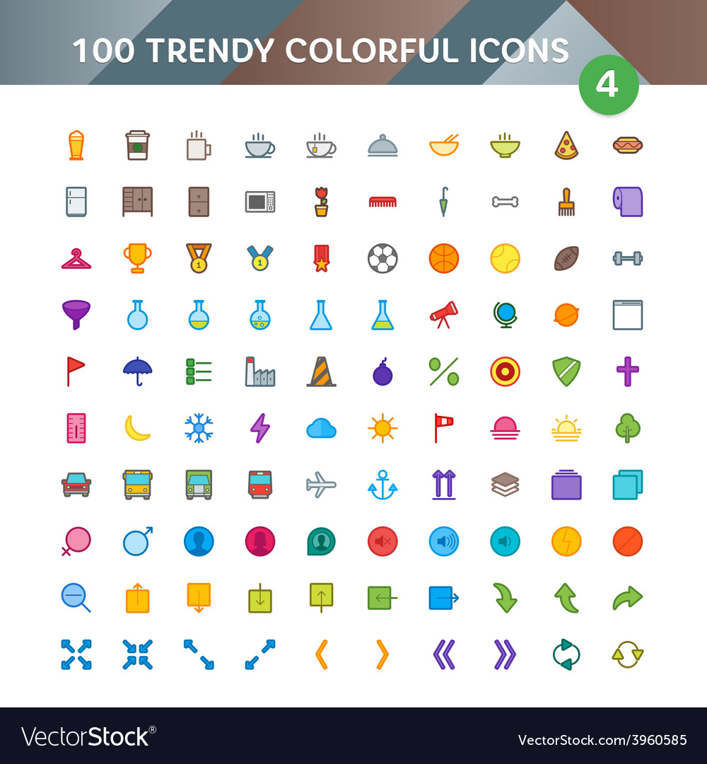 100 universal icons set 4 vector | Price: 1 Credit (USD $1)
