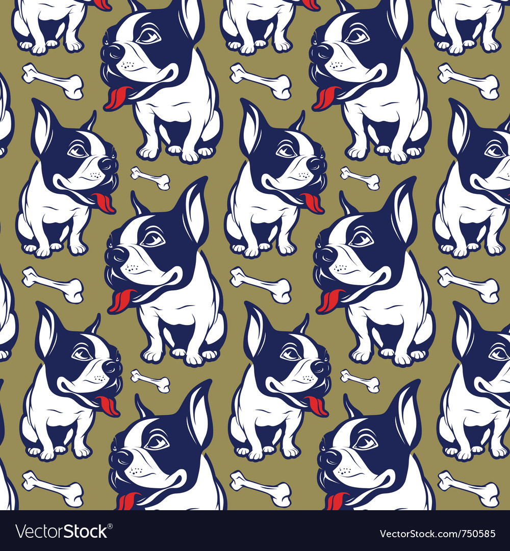 Background cartoon style french bulldog smile vector | Price: 3 Credit (USD $3)
