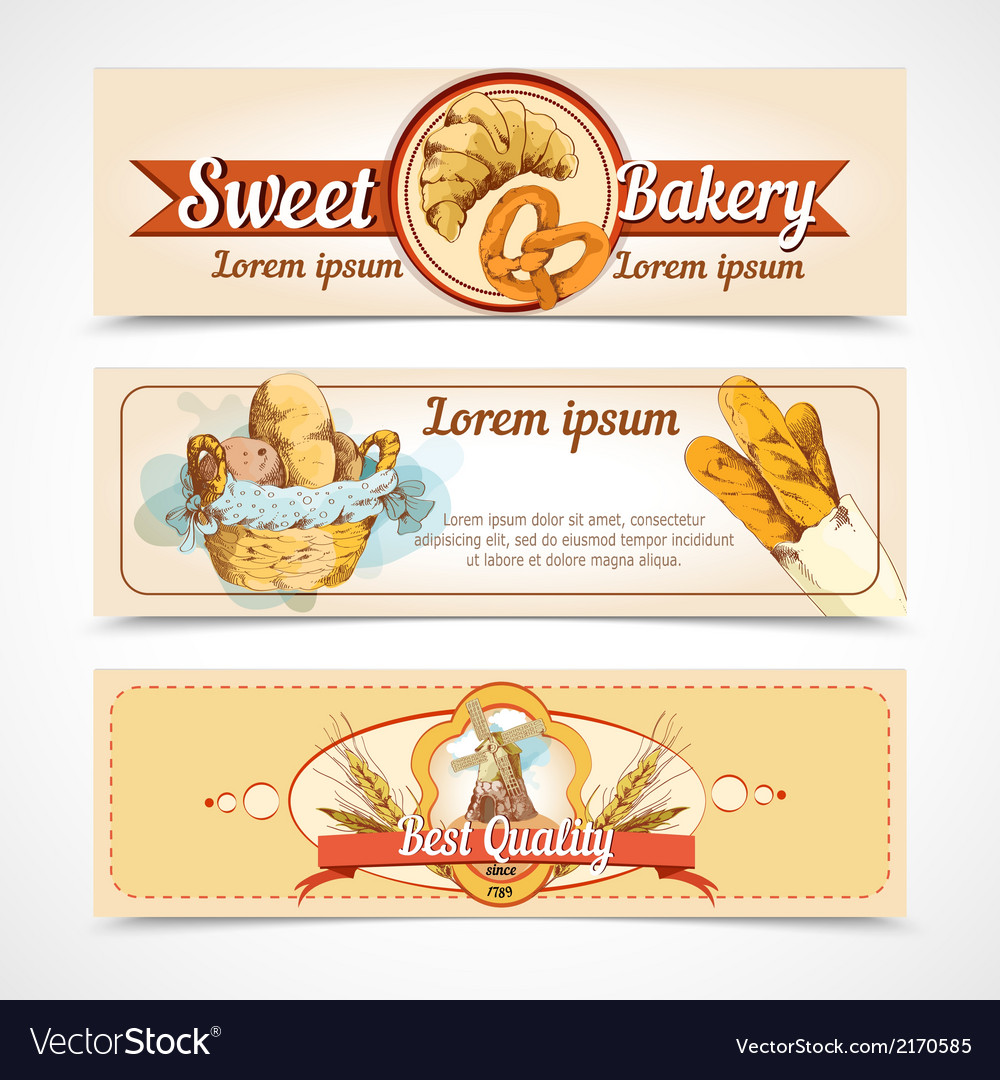 Bakery hand drawn banners vector | Price: 1 Credit (USD $1)