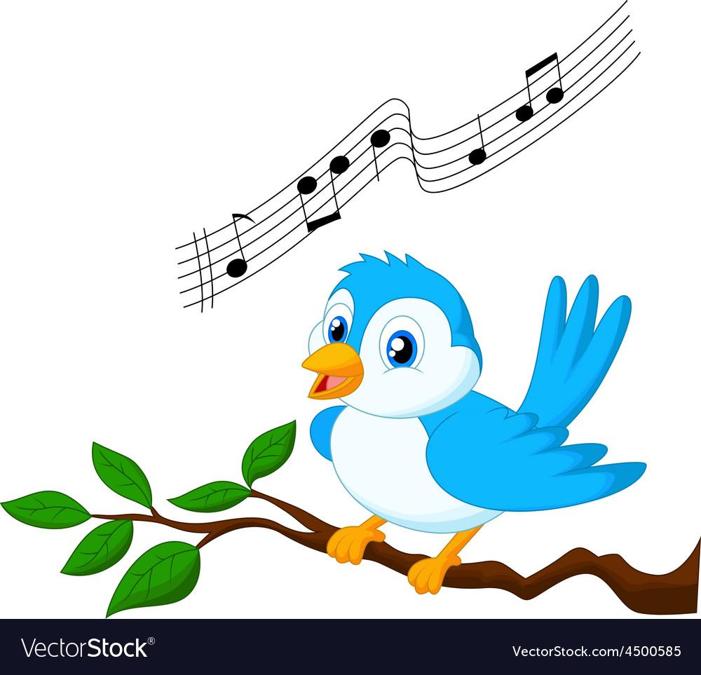 Blue bird singing vector | Price: 1 Credit (USD $1)