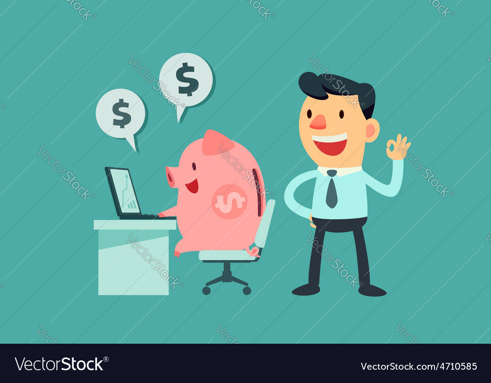 Business man let piggy bank work for him vector | Price: 3 Credit (USD $3)