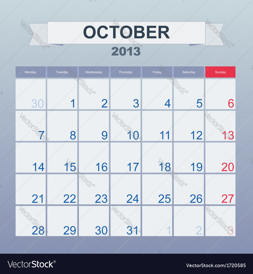 Calendar to schedule monthly october 2013 vector | Price: 1 Credit (USD $1)
