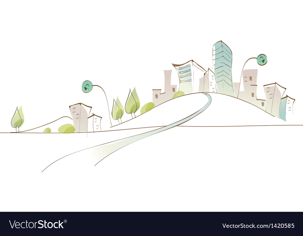 Curved path towards city vector | Price: 1 Credit (USD $1)