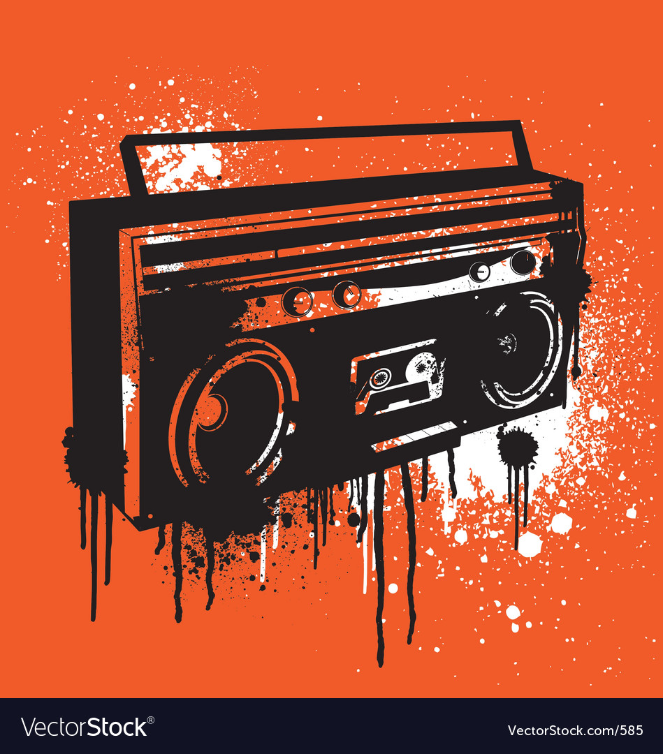 Graffiti stencil boombox vector | Price: 1 Credit (USD $1)