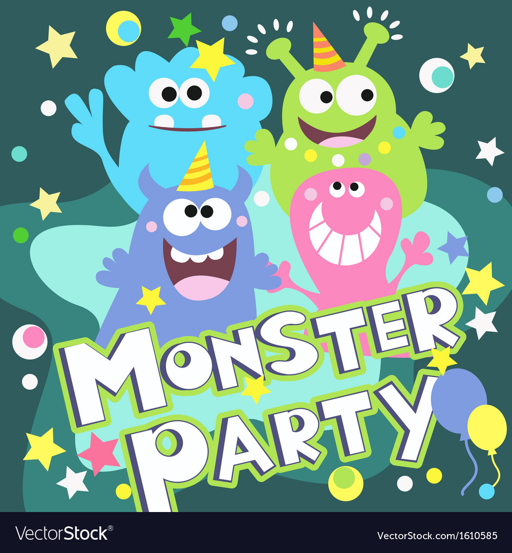Monster party poster vector | Price: 1 Credit (USD $1)