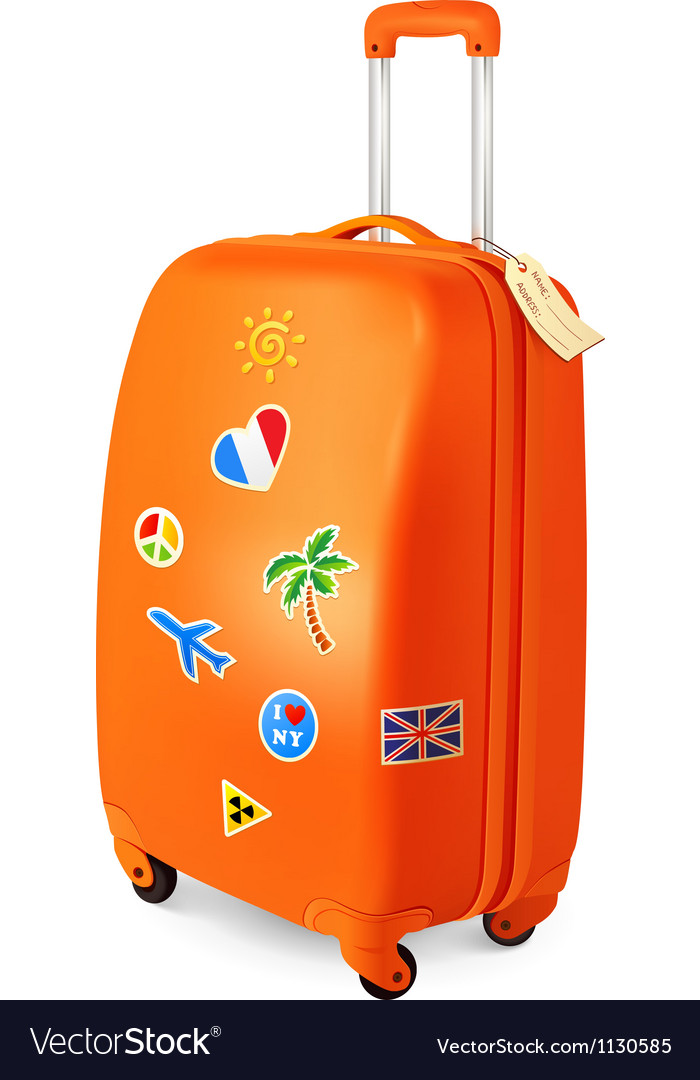 Orange travelling baggage suitcase with stickers vector | Price: 1 Credit (USD $1)