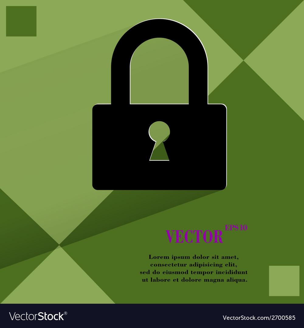 Padlock flat modern web design on a flat geometric vector | Price: 1 Credit (USD $1)