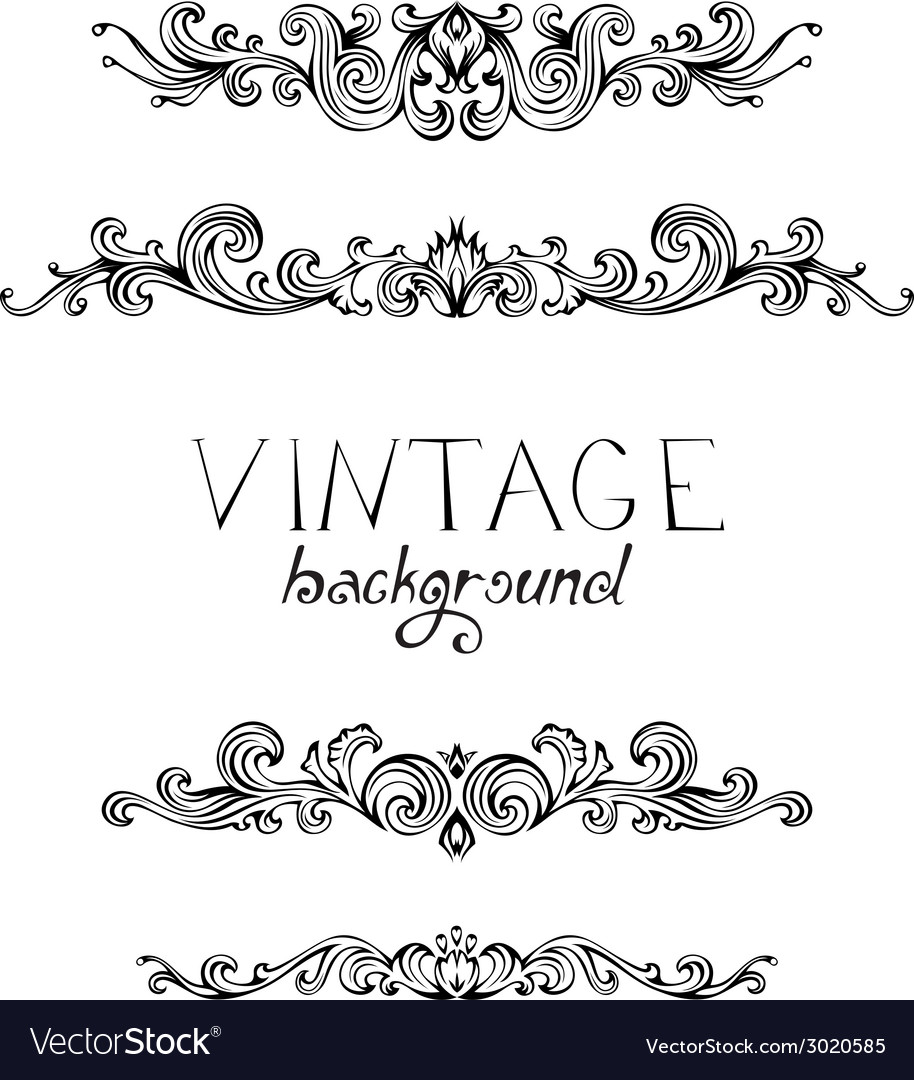 Set of vintage ornate elements for page decoration vector | Price: 1 Credit (USD $1)