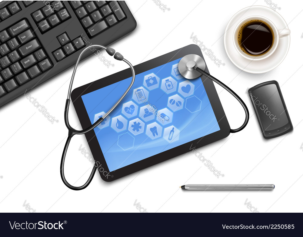 Tablet screen with medical icons and stethoscope vector | Price: 1 Credit (USD $1)