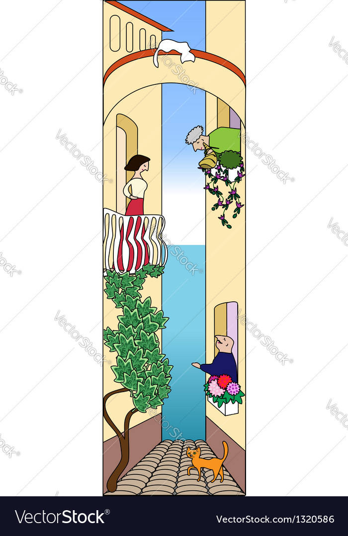 Cartoon narrow street with 3 characters vector | Price: 1 Credit (USD $1)