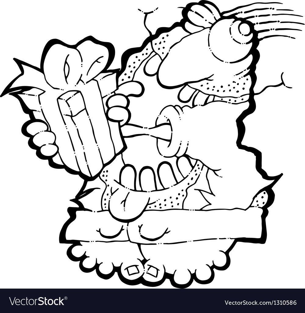Dad receiving present - bw vector | Price: 1 Credit (USD $1)
