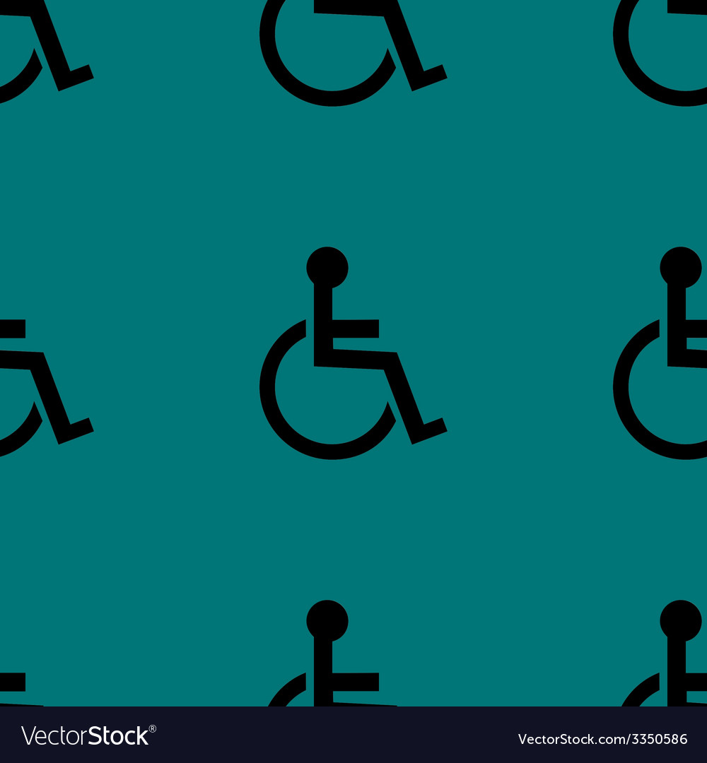 Disabled web icon flat design seamless pattern vector | Price: 1 Credit (USD $1)