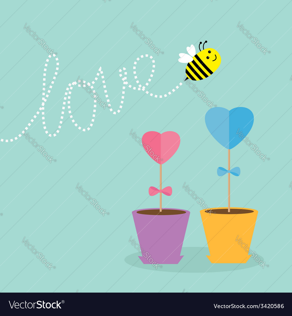 Heart stick flower in the pot and bee with love vector | Price: 1 Credit (USD $1)