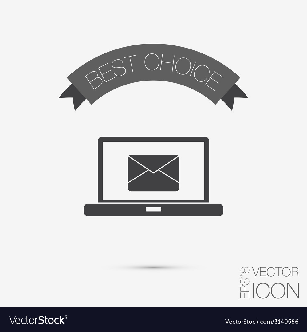 Laptop with letter envelope mail icon vector | Price: 1 Credit (USD $1)