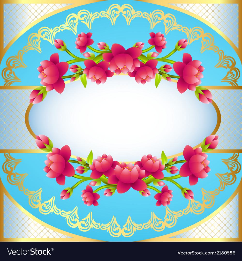 Round frame background with flowering vector | Price: 1 Credit (USD $1)
