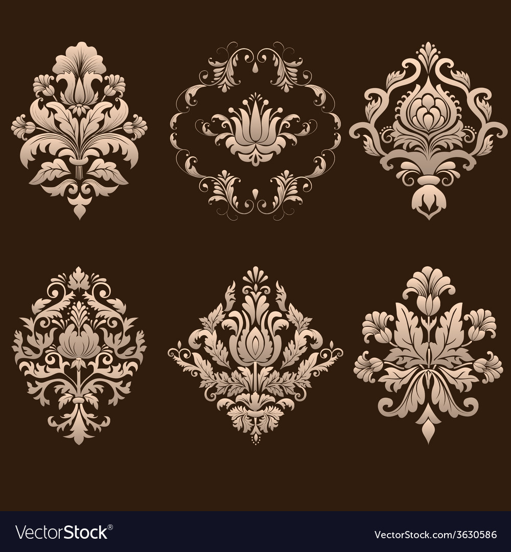 Set of damask ornamental elements vector | Price: 1 Credit (USD $1)