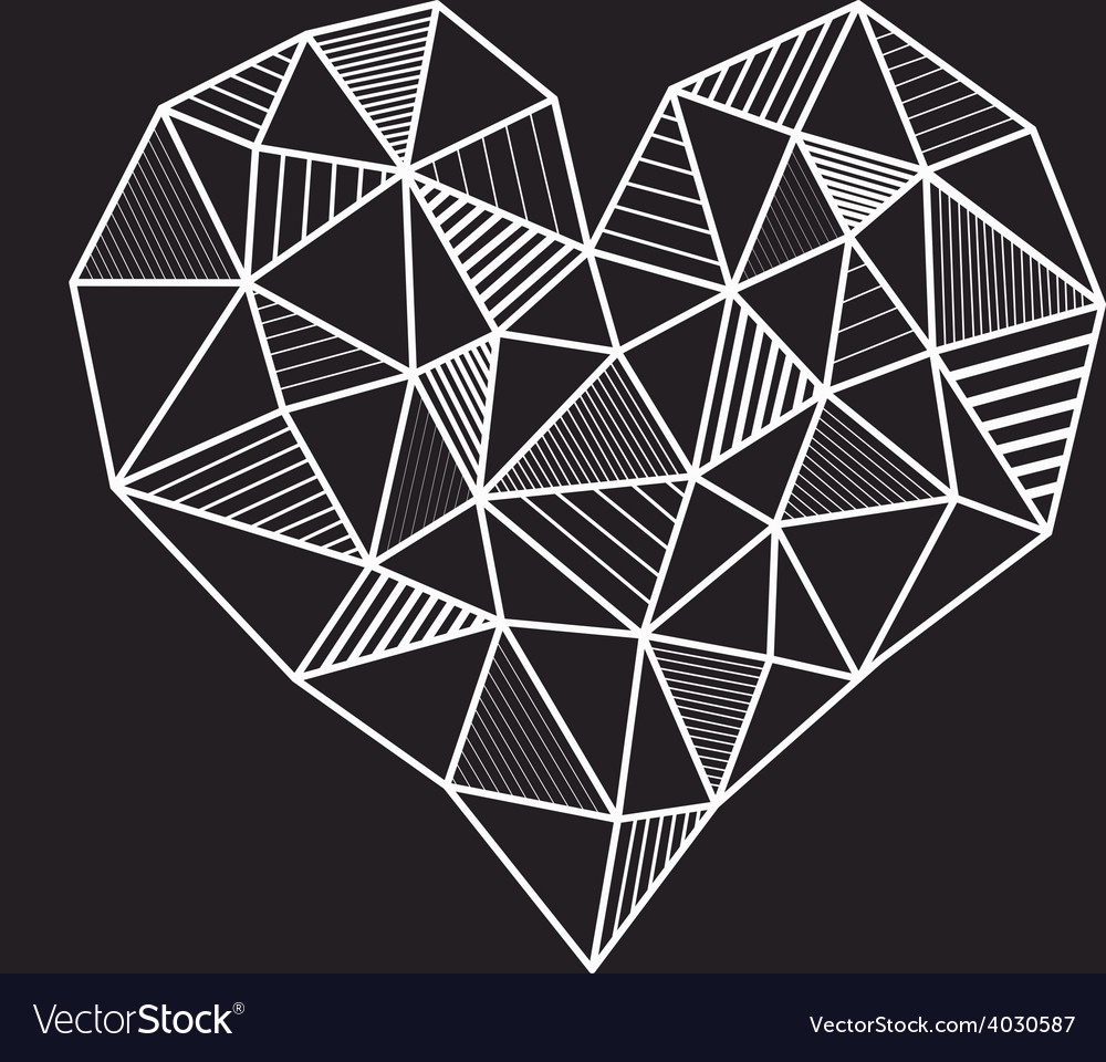 Abstract geometric low poly line heart vector | Price: 1 Credit (USD $1)