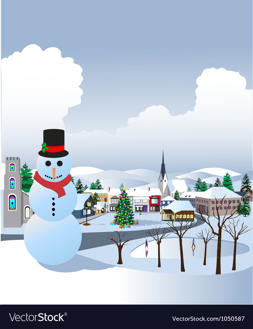 Christmas village vector | Price: 1 Credit (USD $1)
