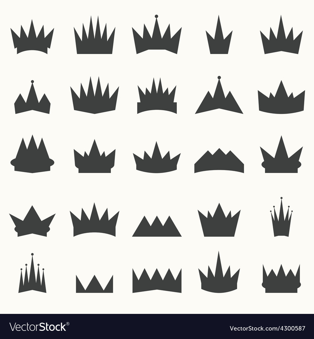 Crown icons set heraldic design elements vector | Price: 1 Credit (USD $1)