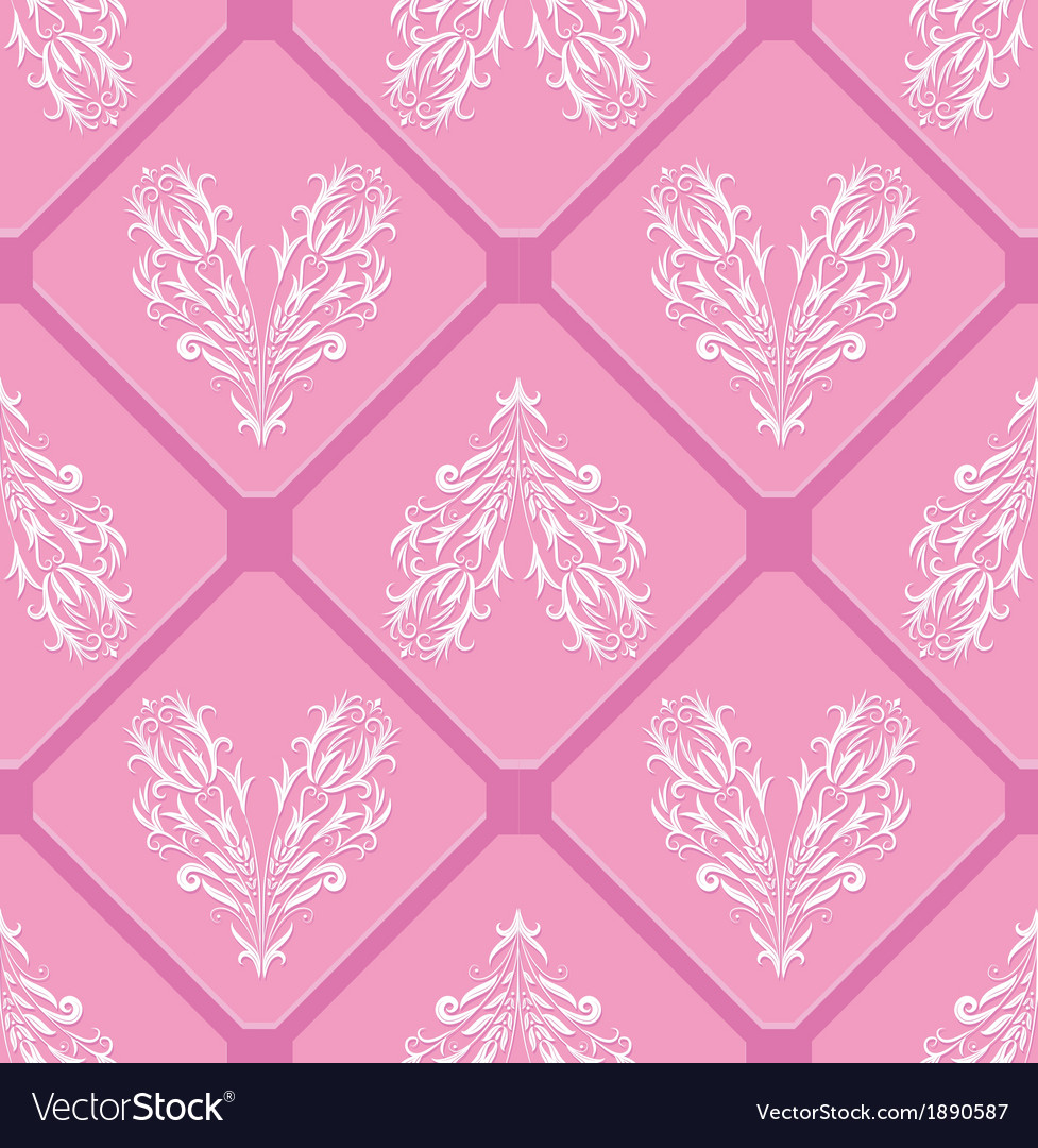 Floral pink pattern heart background seamless swir vector | Price: 1 Credit (USD $1)