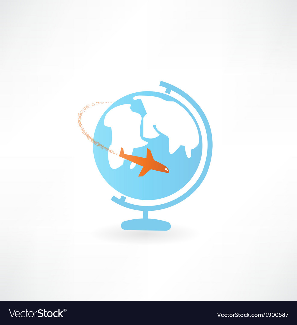 Globe and airplane icon vector | Price: 1 Credit (USD $1)