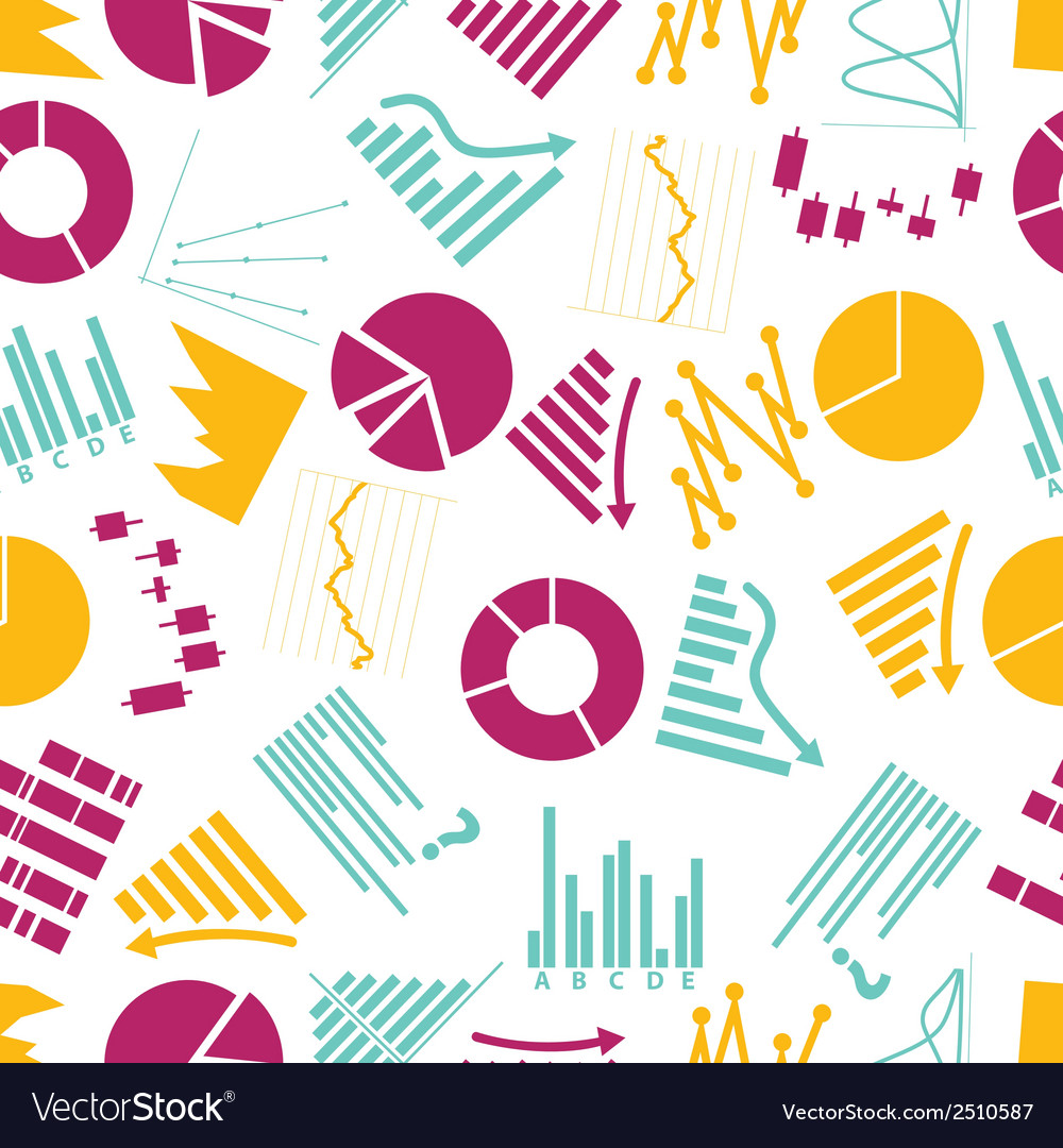 Graphs icons seamless color pattern eps10 vector | Price: 1 Credit (USD $1)