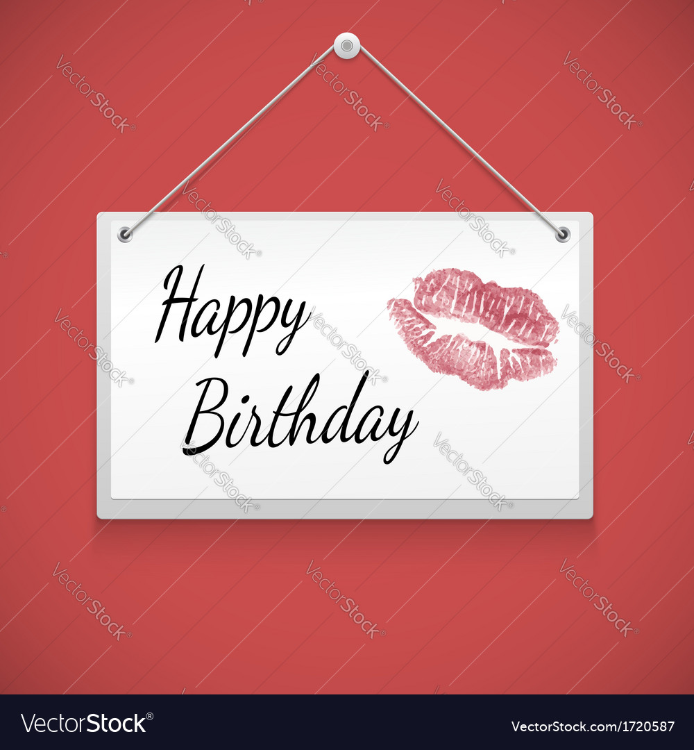 Hanging note board with text happy birthday vector | Price: 1 Credit (USD $1)