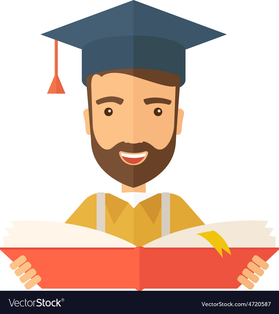 Man standing with graduation cap vector | Price: 1 Credit (USD $1)