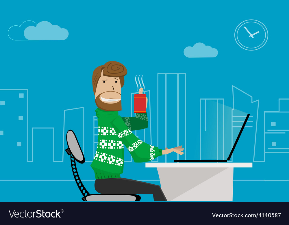 Office worker at home vector