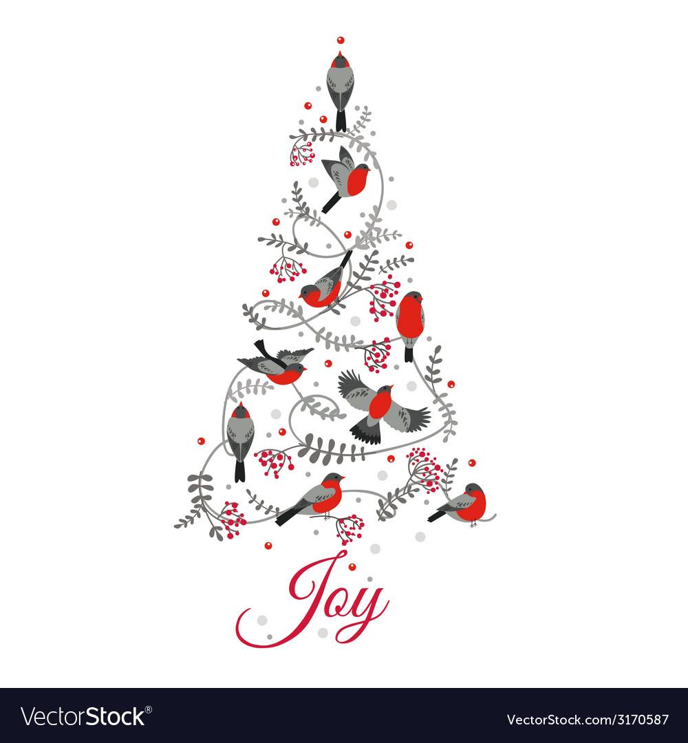 Retro christmas card - birds on christmas tree vector | Price: 1 Credit (USD $1)