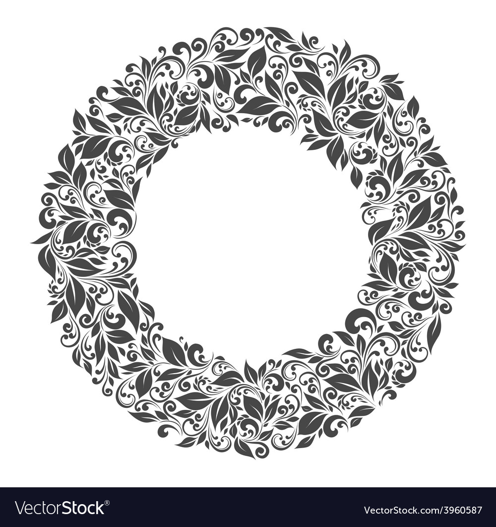 Round frame of patterns and leaves vector | Price: 1 Credit (USD $1)
