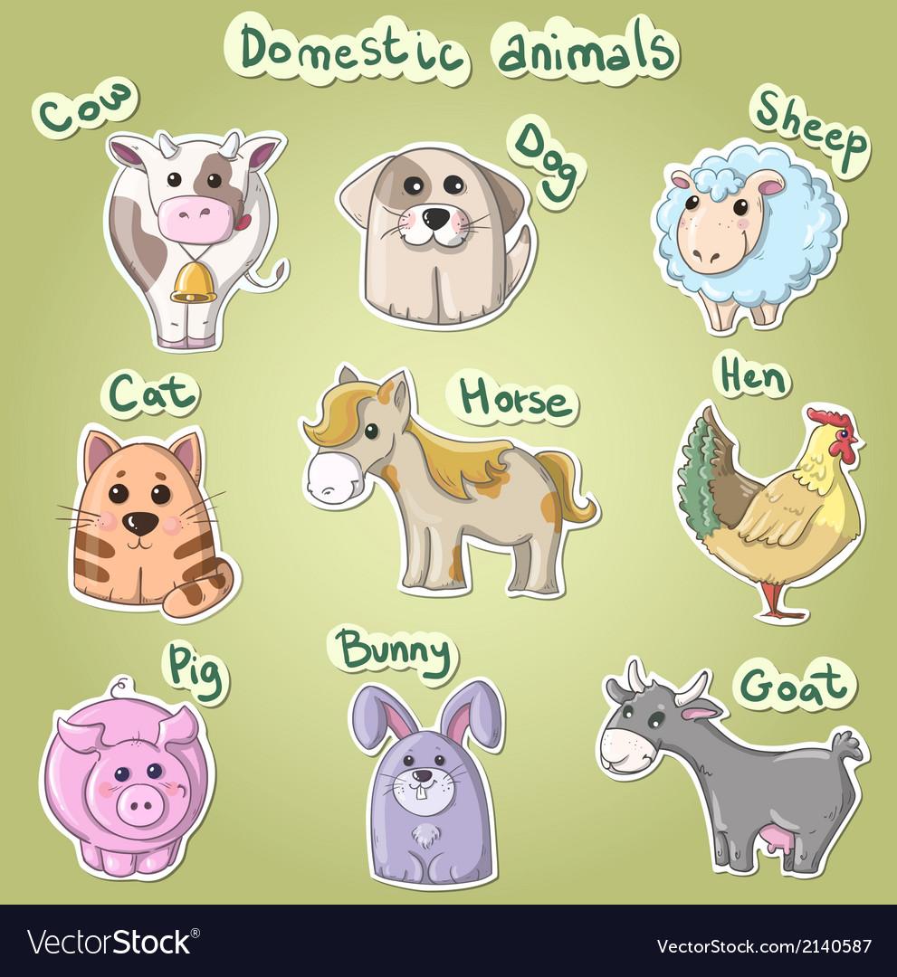 Set of cartoon domestic animals vector   Price: 1 Credit (USD $1)
