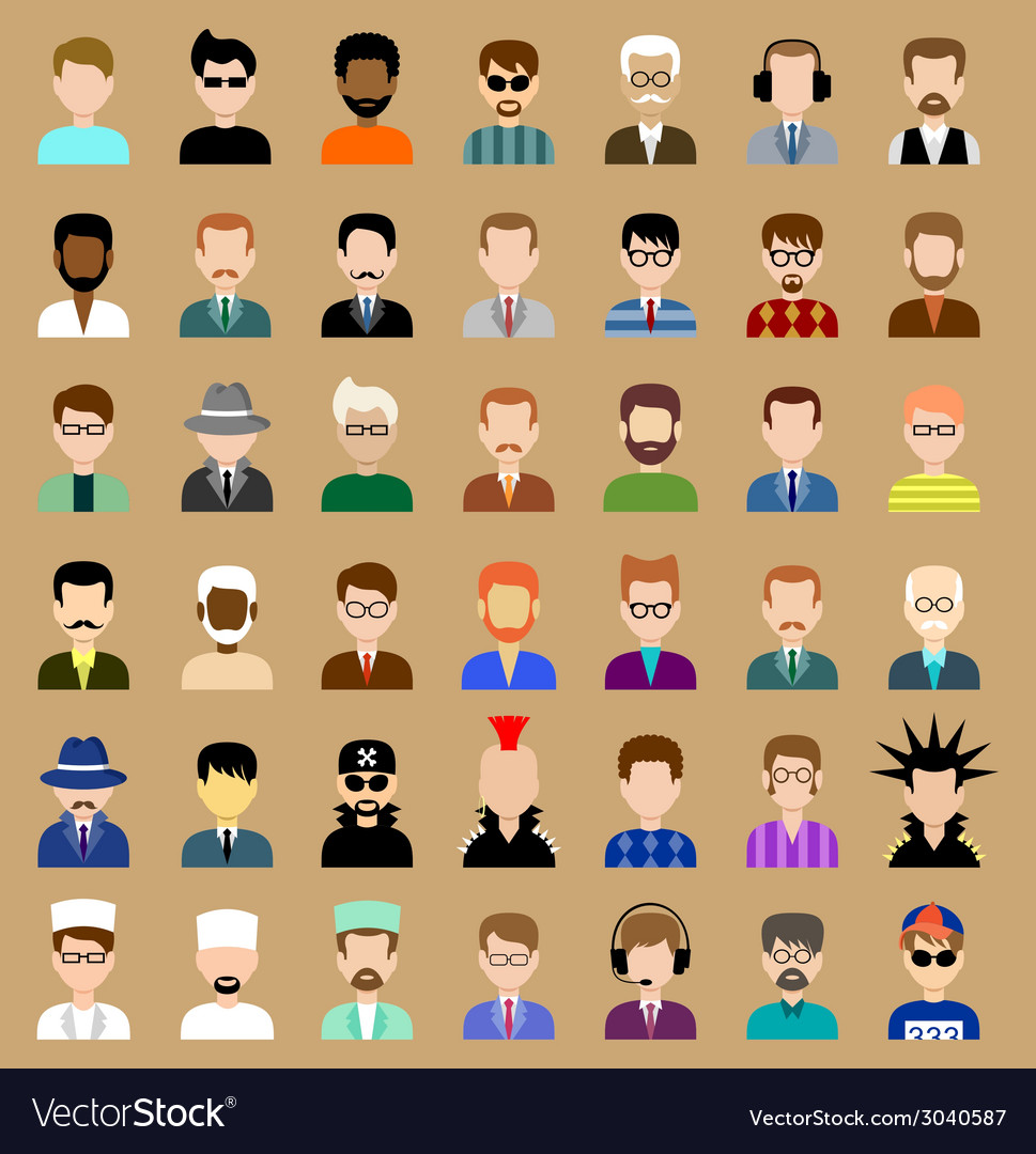 Set of circle flat icons with men vector   Price: 1 Credit (USD $1)