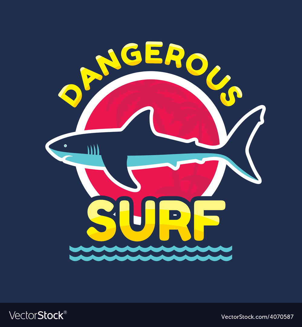 Shark - dangerous surf - logo badge vector | Price: 1 Credit (USD $1)