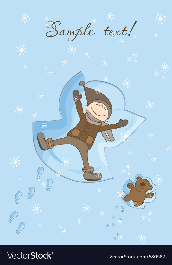 Snow angel xmas card vector | Price: 1 Credit (USD $1)