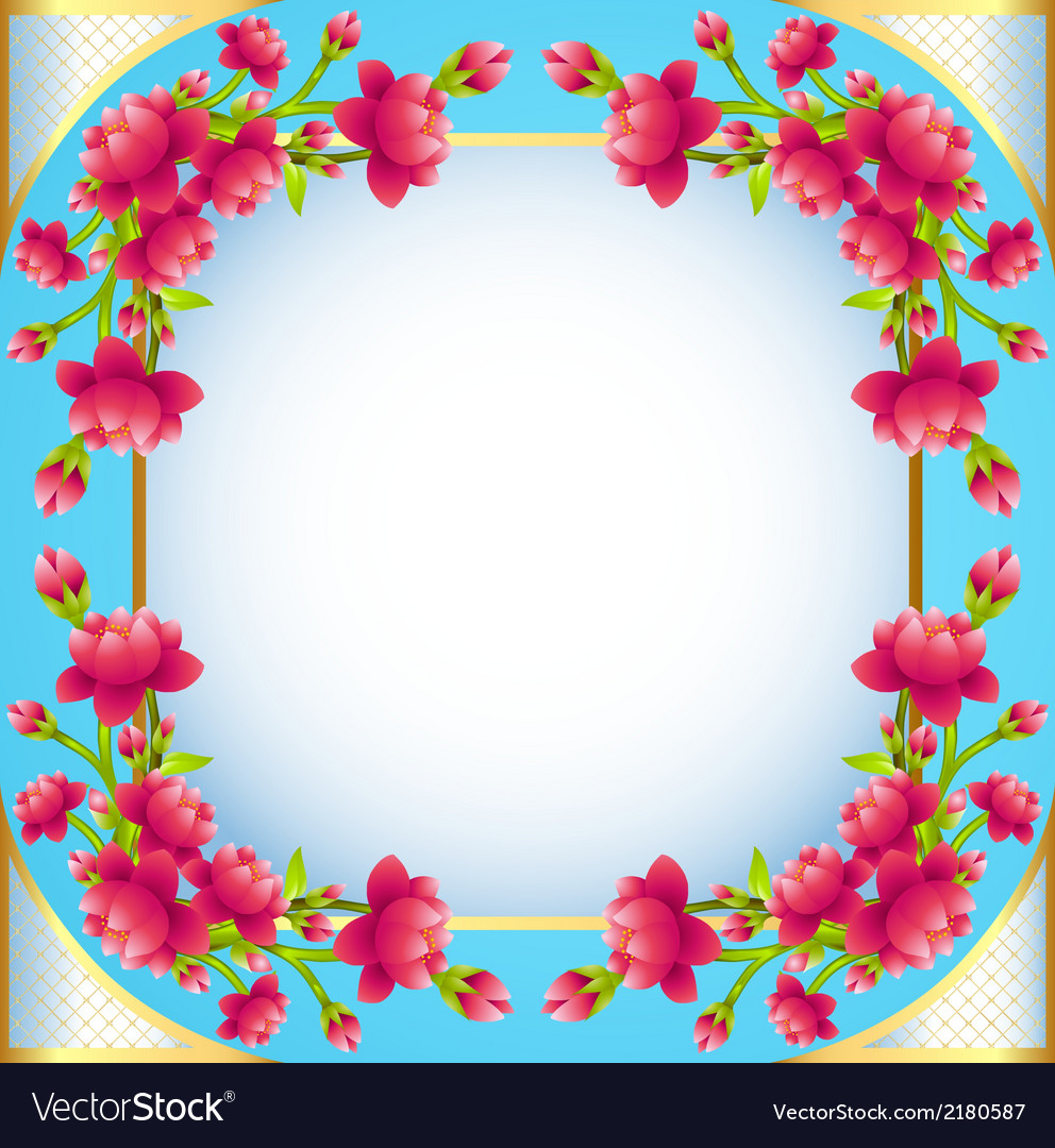 Square frame background with flowering vector | Price: 1 Credit (USD $1)