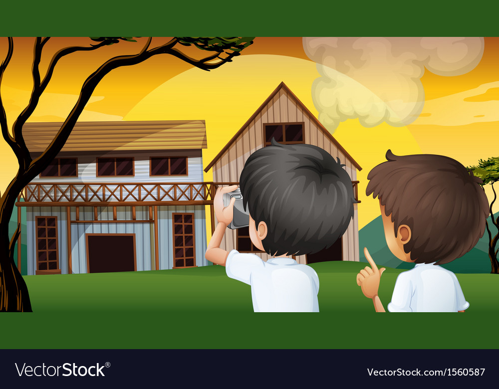 Two young boys taking photos vector | Price: 3 Credit (USD $3)