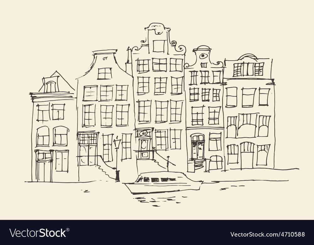 Amsterdam city architecture vintage engraved ill vector | Price: 1 Credit (USD $1)