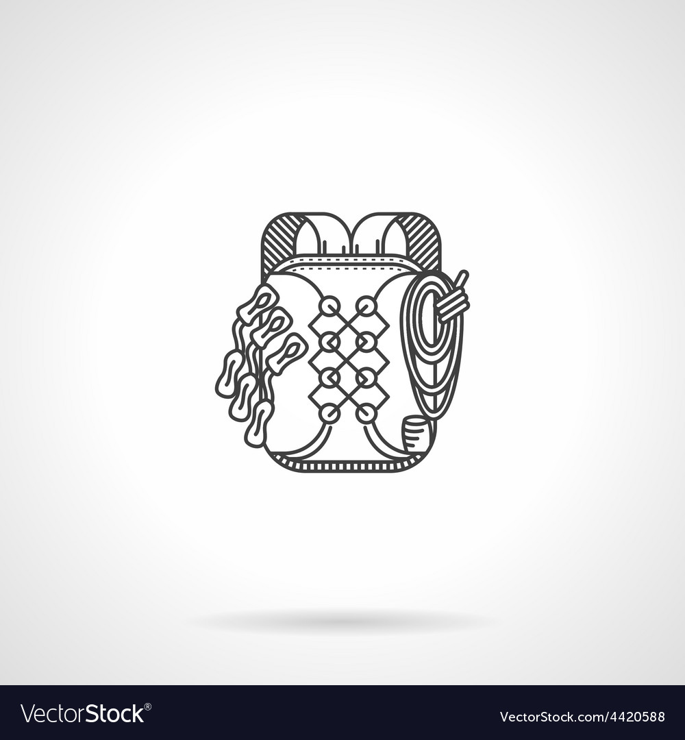 Black line flat icon for backpack vector | Price: 1 Credit (USD $1)